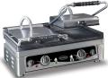 Contact grill, dublu, baza striata, L560 mm, COMBISTEEL