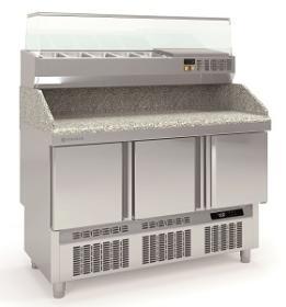 Masa preparare pizza cu blat granit+ vitrina refrigerata MFPP-140 CORECO#1
