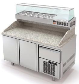 Masa preparare pizza cu blat granit+ vitrina refrigerata MR80-160 CORECO#1