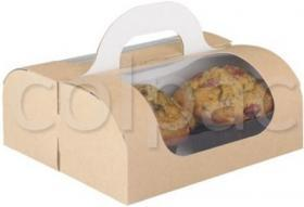 Cutie prajituri –Portable box with handle (kraft) 01HOMESW COLPAC#1
