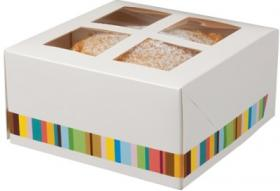 Cutie prajituri –White Paperboard Four Cake Box with window & insert 01CAKE4 COLPAC#1